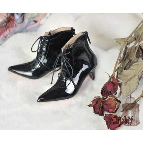 1/3 Girls Highheels /DD+ Pointed Toe Ankle Boots [Coven Three] - Flash Black