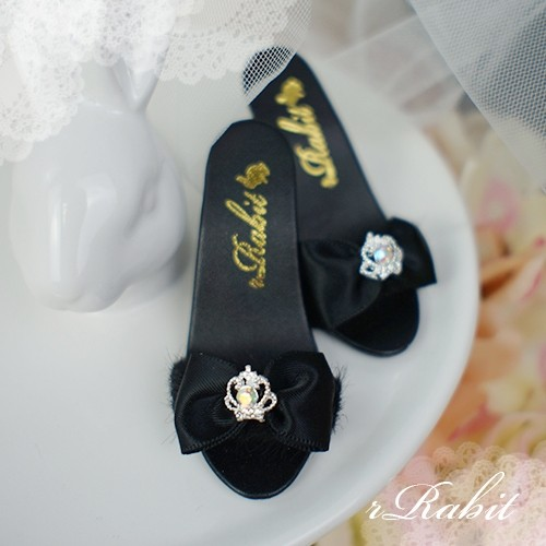 1/3 Girls SD16/13 DD - Crown & Ribbon high-heeled Sandals Plush shoes - CPS001 Black