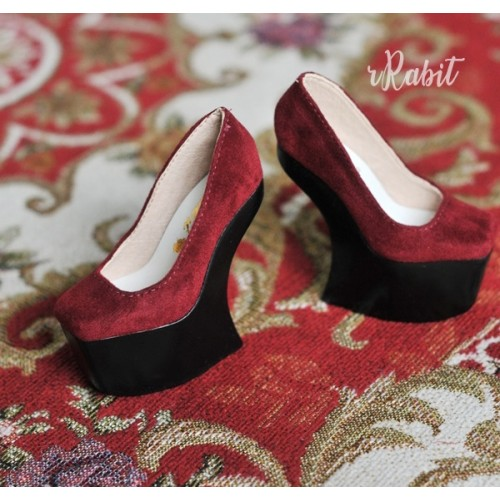 1/3 Girls Highheels /DD [Coven Four] Curve Platform High Heels - Red Velvet (Basic Ver.)