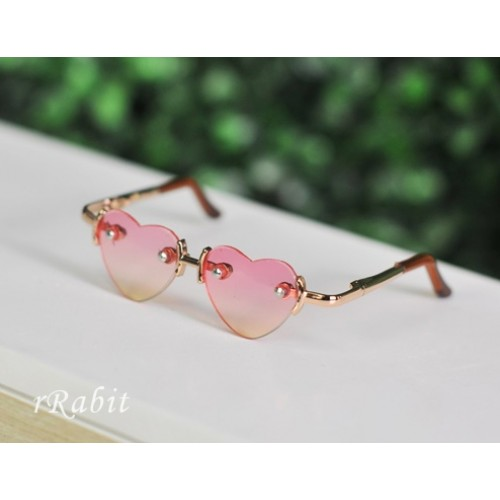 1/3 Sun Glasses - Heart Shape - Pink>Yellow