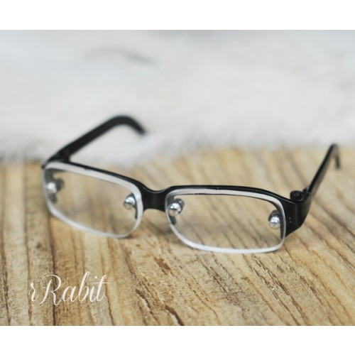 1/3 Half Frame Glasses - Black