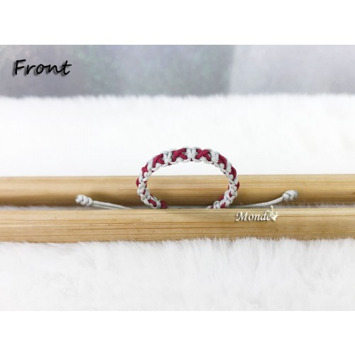 [Monde] 1/3 Lover Bracelets (Cross) Gray-x-Wine