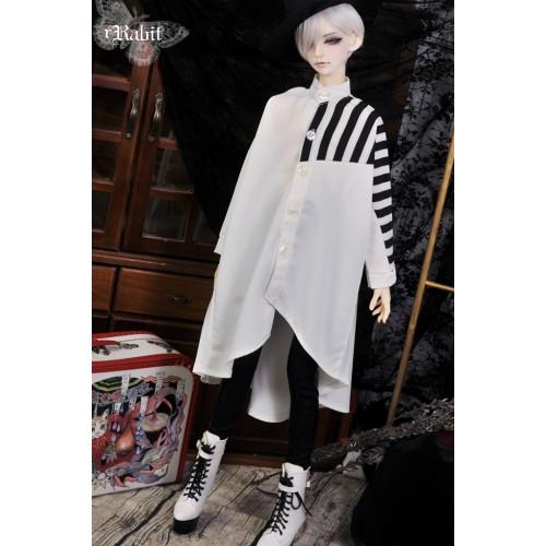 1/3 Boy [Jessie Cold] Flying squirrel sleeve x Irregualr hem shirt - HL044 2004 (B&W Stripe X White)