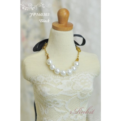 1/3 - Ribbon w/ Jewelry pearl necklace - JP160302 (Black)