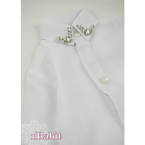 [Limited] 70cm up+ * Chiffon+Stone Shirt - LC009 002 White