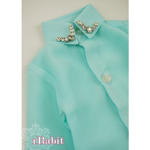 [Limited] 1/3* Chiffon+Stone Shirt - LC009 005 Tiffany blue
