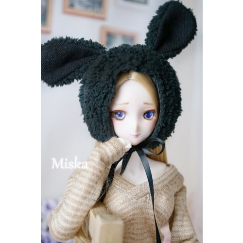 1/3 [Miska] Fuzzy Hat - MSK018 006 - Black rabbit