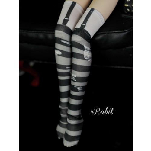 1/4/MDD[Coven Socks] - Rotten Stripe (Grey) - CVS190901