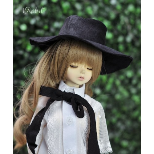 1/3[Witchcraft Academic] Wide Brimmed hat - AS006 003(Black suede)