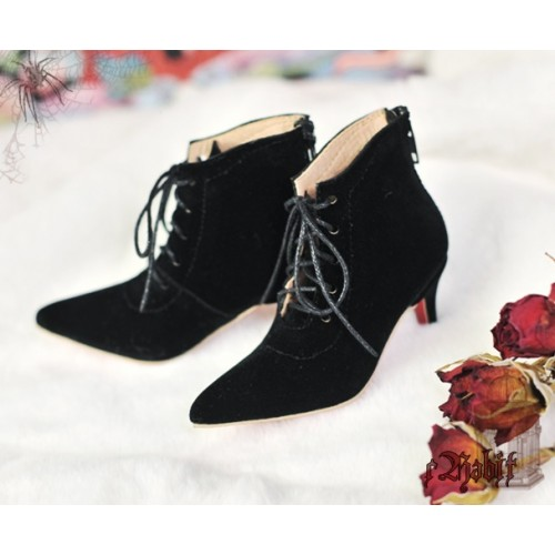 SD17/IP's Girl + Pointed Toe Ankle Boots [Coven Three] - BlackVelvet