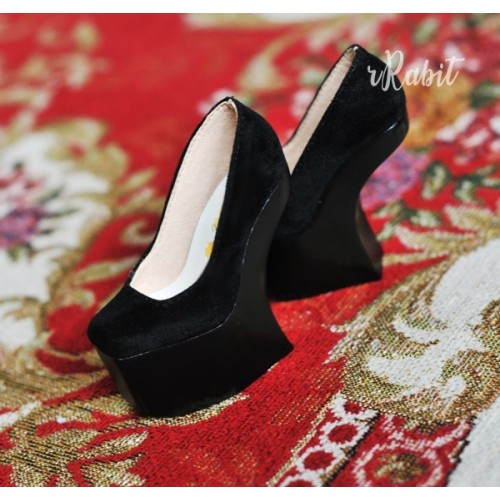1/3 Girls Highheels /DD [Coven Four] Curve Platform High Heels - Black Velvet (Basic Ver.)