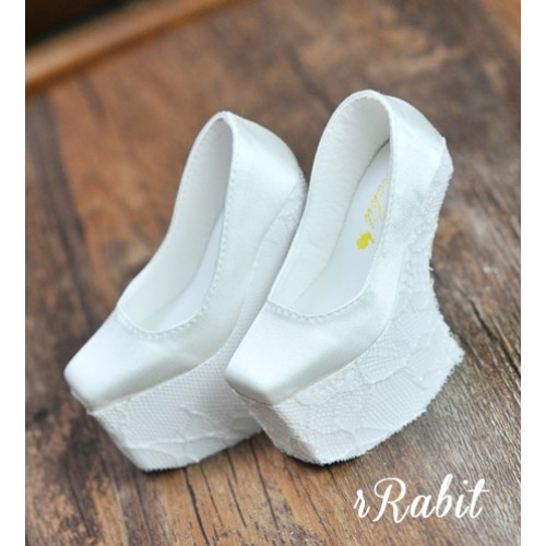 1/3 Girls Highheels /DD [Coven Four] Curve Platform High Heels - White/Lace