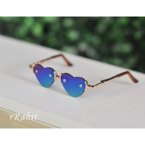 1/3 Sun Glasses - Heart Shape - Laser Blue