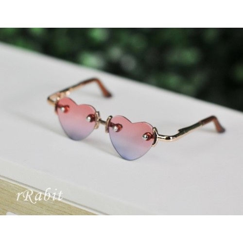 1/3 Sun Glasses - Heart Shape - Pink>Green