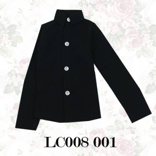 70cm up+ * Chiffon Plain L/S Shirt - LC008 001 Black