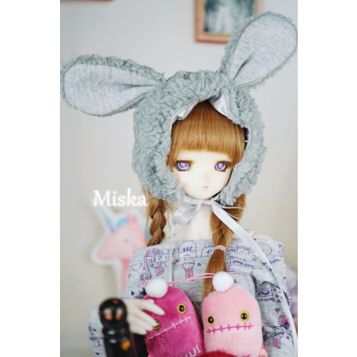 1/3 [Miska] Fuzzy Hat - MSK018 007 - Grey rabbit
