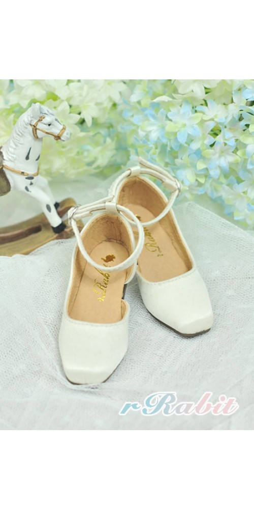 [Sept Pre] SD10/13 Girl BLS007 -  Creamy White - Square Mary Jane shoes
