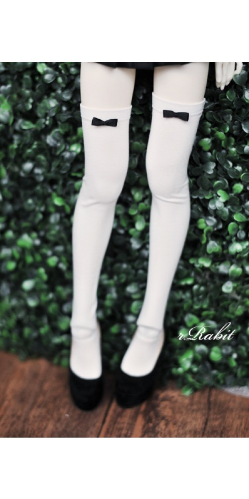 1/3 Ribbon socks - White sock Black ribbon R170501